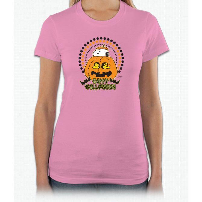 Snoopy And Woodstock Pumpkin Short Sleeve Women T-Shirt
