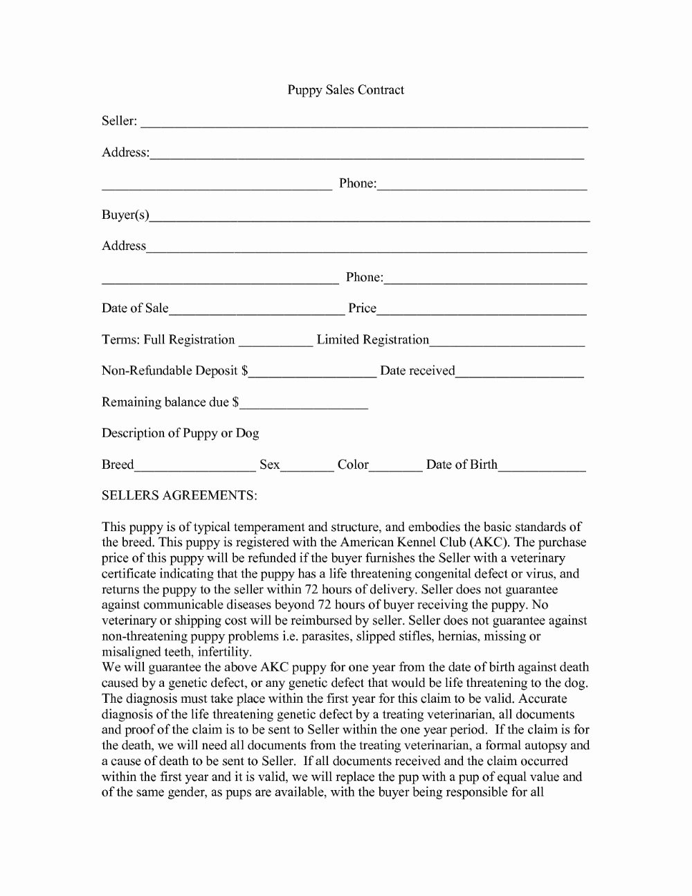 Puppy Sales Contract Template Pictimilitude pertaining to