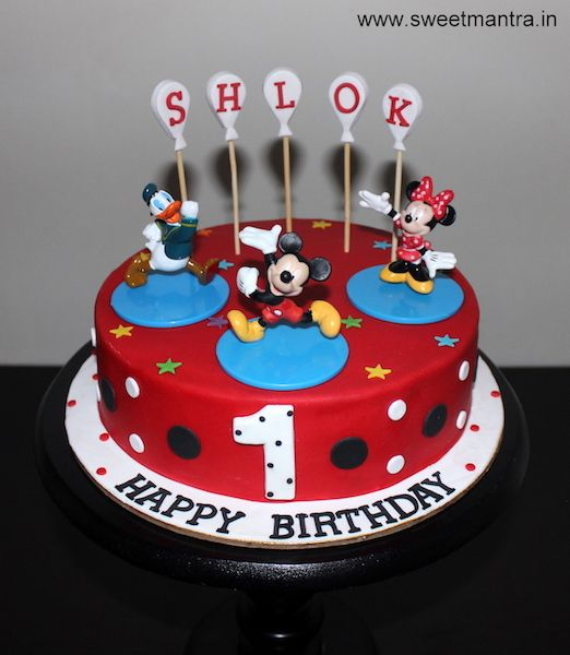 Mickey Mouse And Friends Theme Small Customized Designer Cake For Boy S 1st Birthday At Pune Cake Cartoon Birthday Cake Cake Delivery