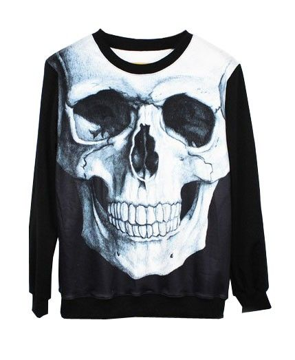 Punk Skeleton Pattern Cotton Sweatshirt