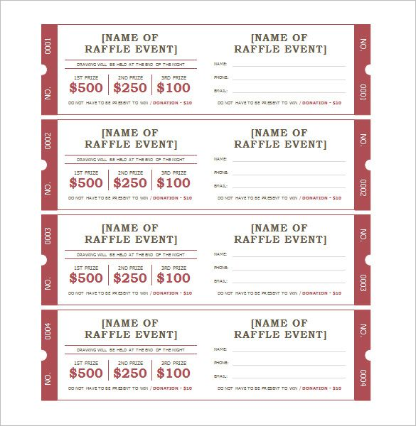 Ticket Template 91 Free Word Excel PDF PSD EPS Formats – Raffle Ticket Template Excel