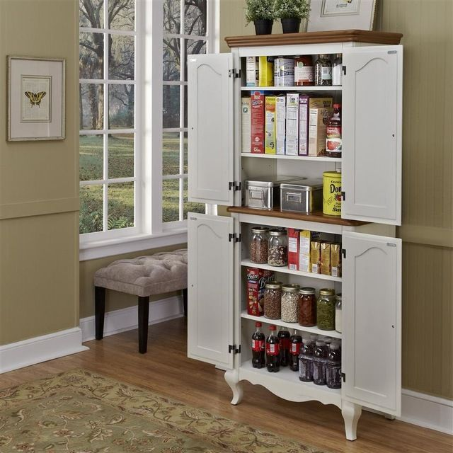 Stand Alone Oak and Rubbed White Pantry | Pantry decor ...