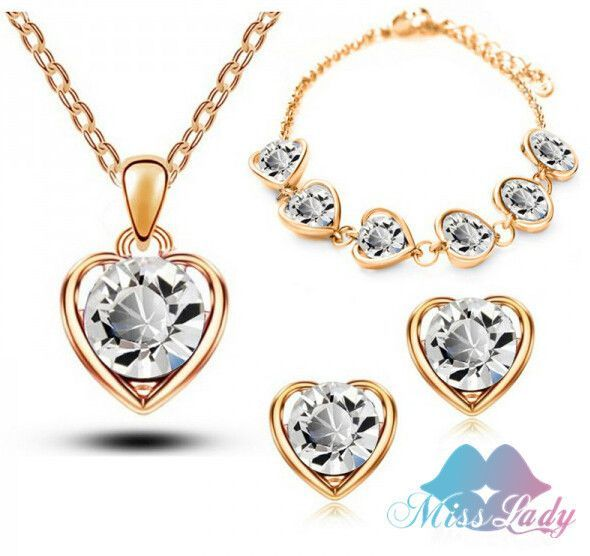 18K Rose Gold Plated Crystal Heart Birdal Sets women Necklace Earrings Sets Y5351