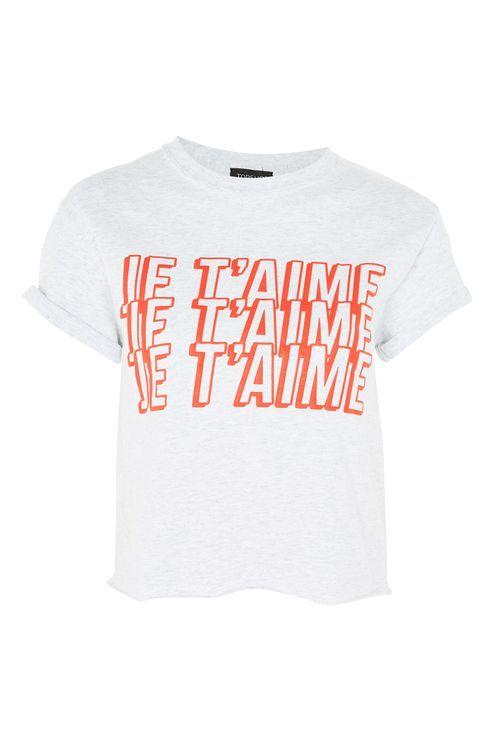 5ab86020584 Topshop  PETITE  Je Taime  Slogan Crop T-Shirt