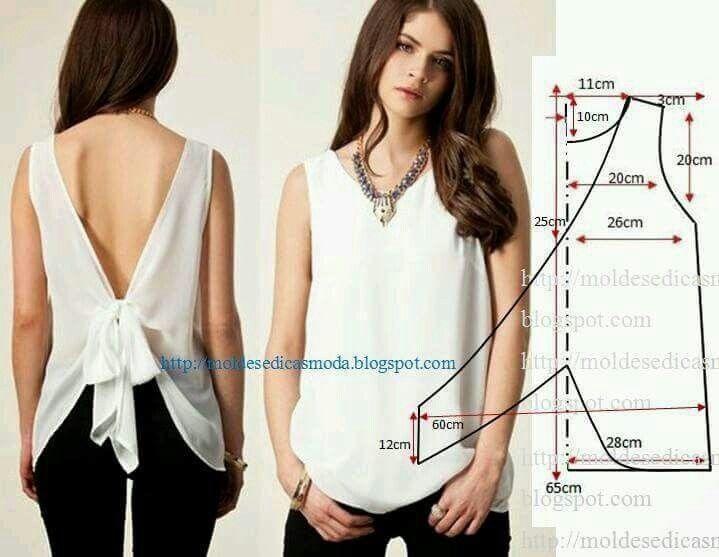 Blusa nudo en espalda | blusas | Pinterest | Sewing, Sewing patterns ...
