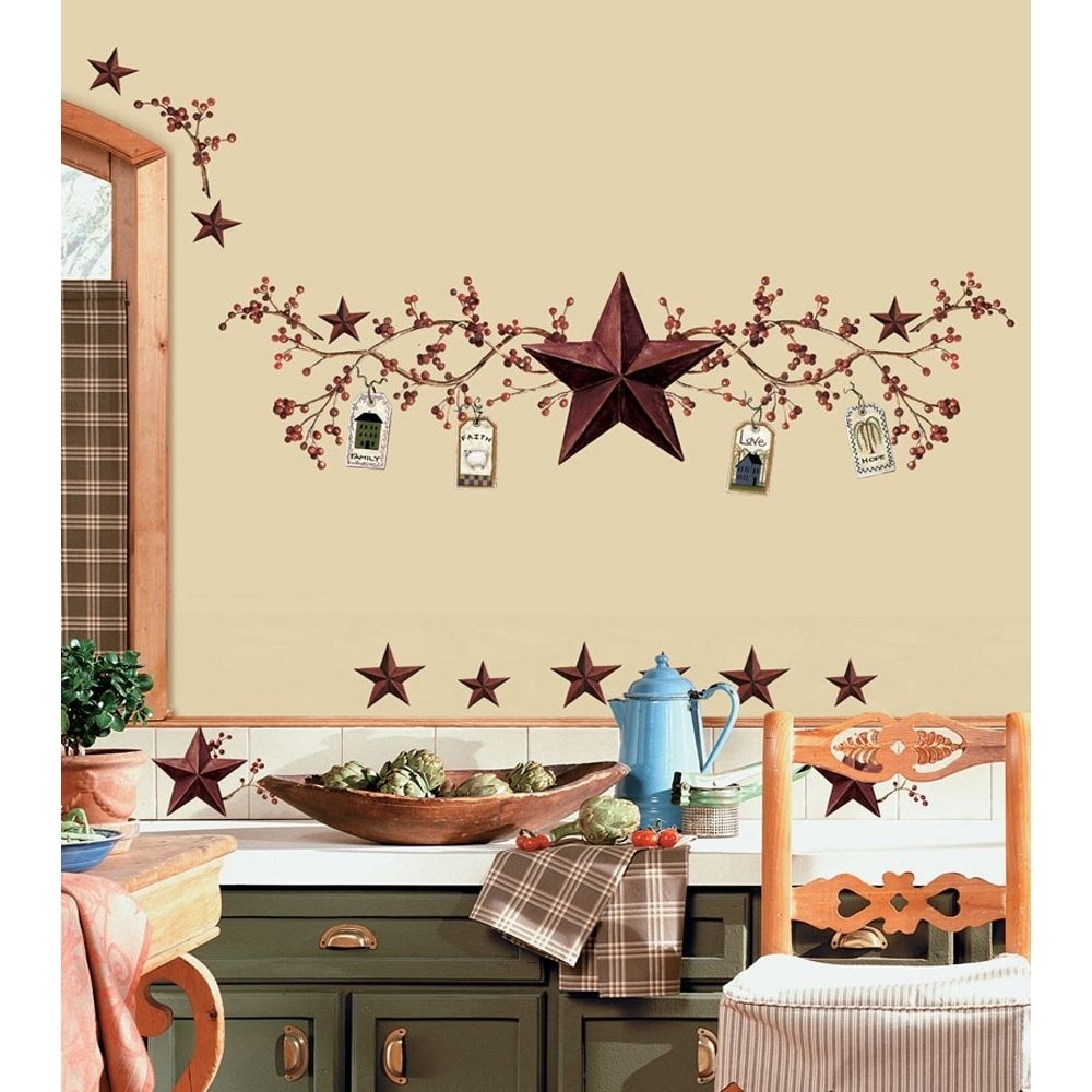 New stars berries wall decals country kitchen stickers rustic primitive decor 034878813912 - Country wall decor ideas ...