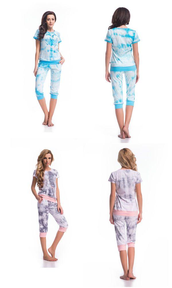 f1e8b7388b50ca Damen Pyjama Schlafanzug Nachtwäsche Baumwolle Hausanzug Nachthemd S M L XL