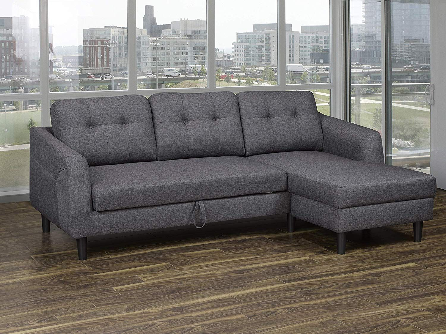 This Sectional Sofa Made With Linen Fabric In Dark Grey Color Can Work With Any Neutral Decor Theme Or Wonderfully Contrast A Dar In 2020 Modern Sofa Bed Sofa Sofa Bed