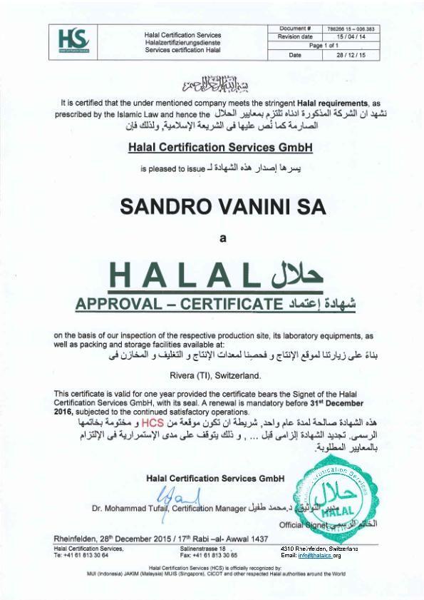 Halal Certification Sandro Vanini Sa Gulfood Pinterest Halal