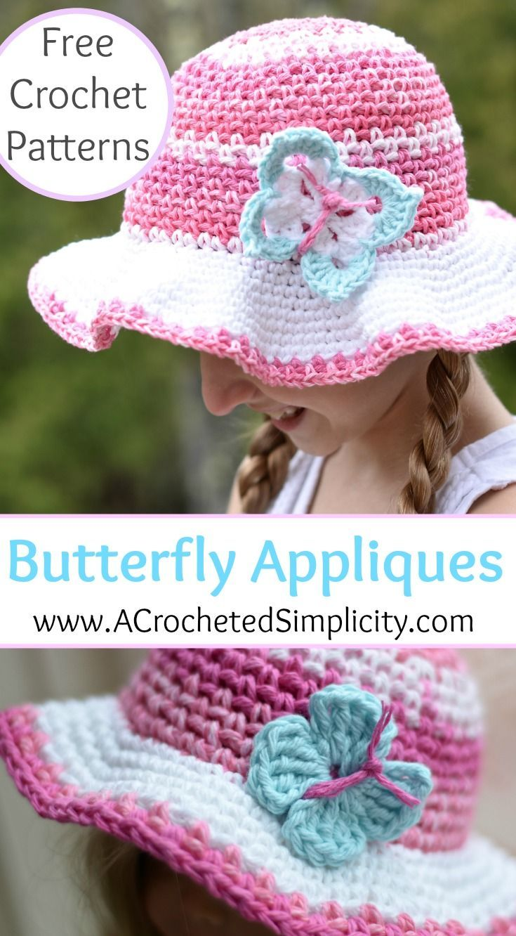 Free Crochet Pattern - Butterfly Applique - 2 Sizes | Gorros tejidos ...