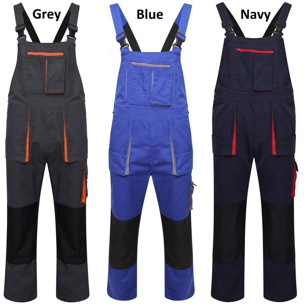 Heavy Duty High Quality Mens Work Bib and Brace Overalls Dungarees Knee Pads New