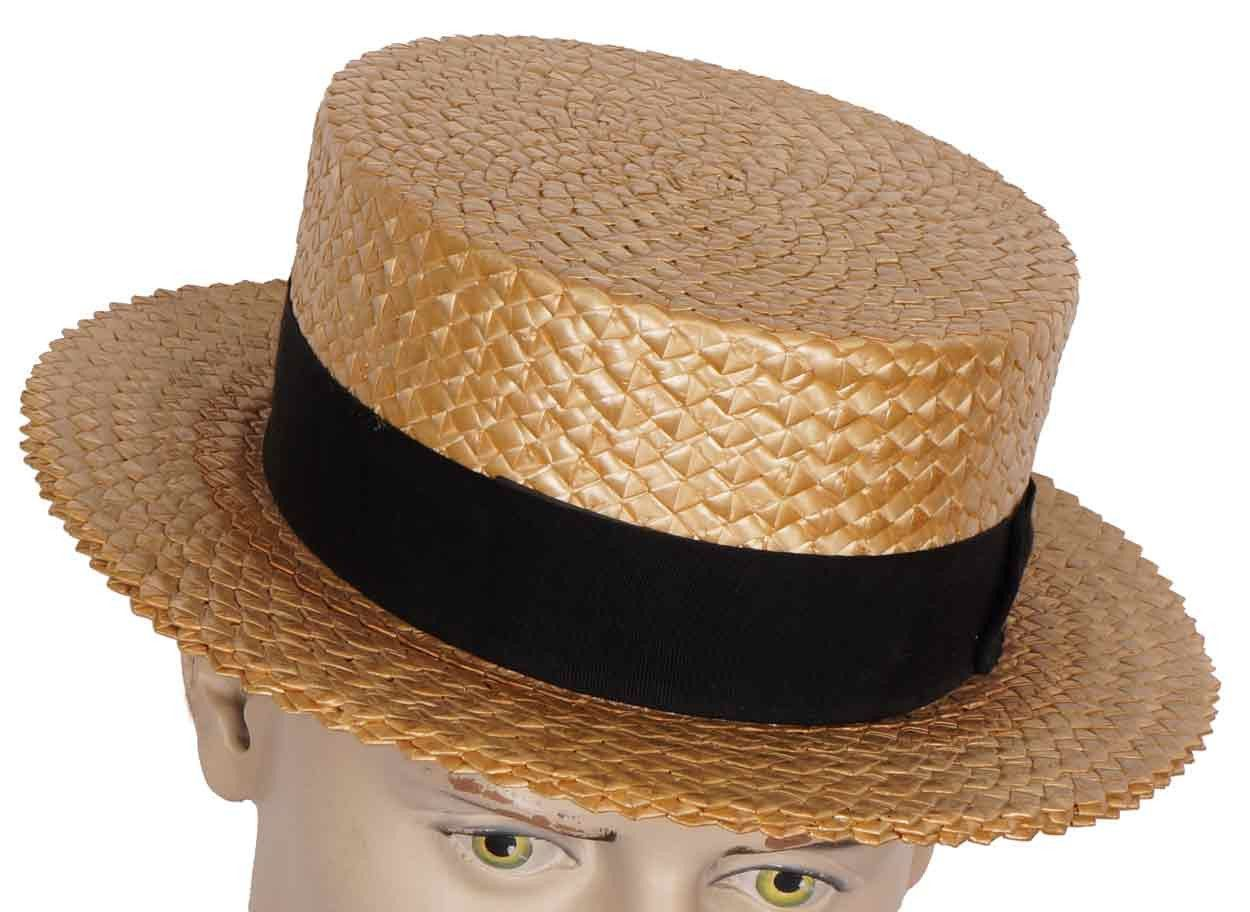 Fancy Dress School Accessory Adult 1920s Boy Straw Boater Hat