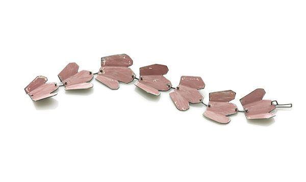 AMY TAVERN Pink Leaf Bracelet  $400  Pink Leaf Bracelet Oxidized sterling, spray enamel 8 x 1 x .25 in.