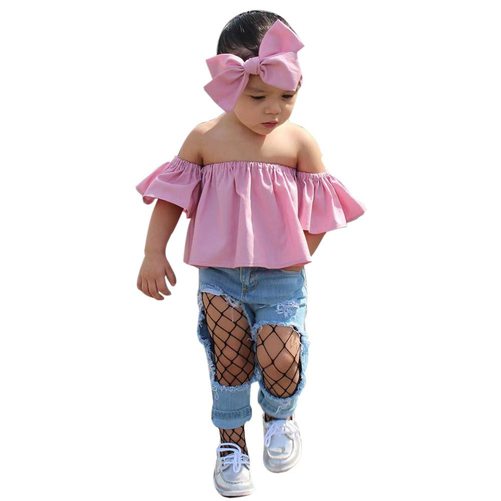 Kids Infants Girl Princess Falbala Off Shoulder Outfits Cute Tops Long Pants Set