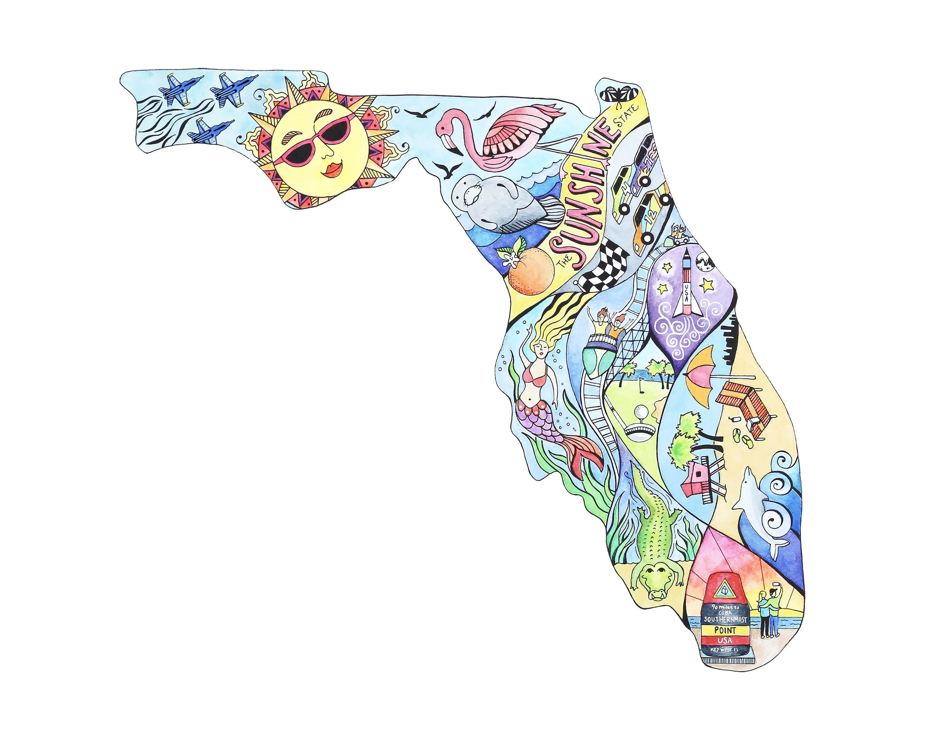 Florida Map Print Florida Watercolor And Ink Illustration