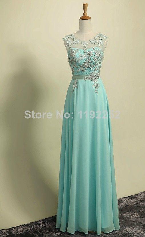 c460cd1f3fdf7 Custom Made A Line Light Blue Round Neckline Long Lace Prom Dresses ...