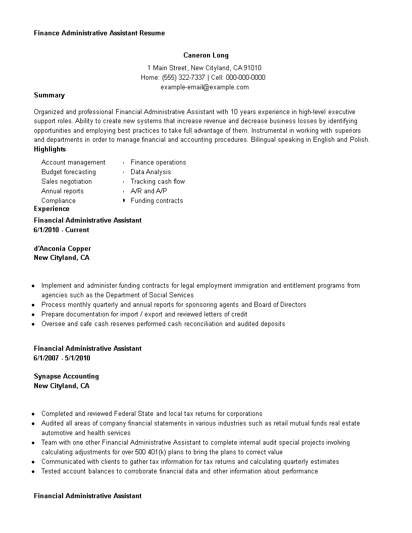 Finance Administrative Assistant Resume  How To Draft A Finance