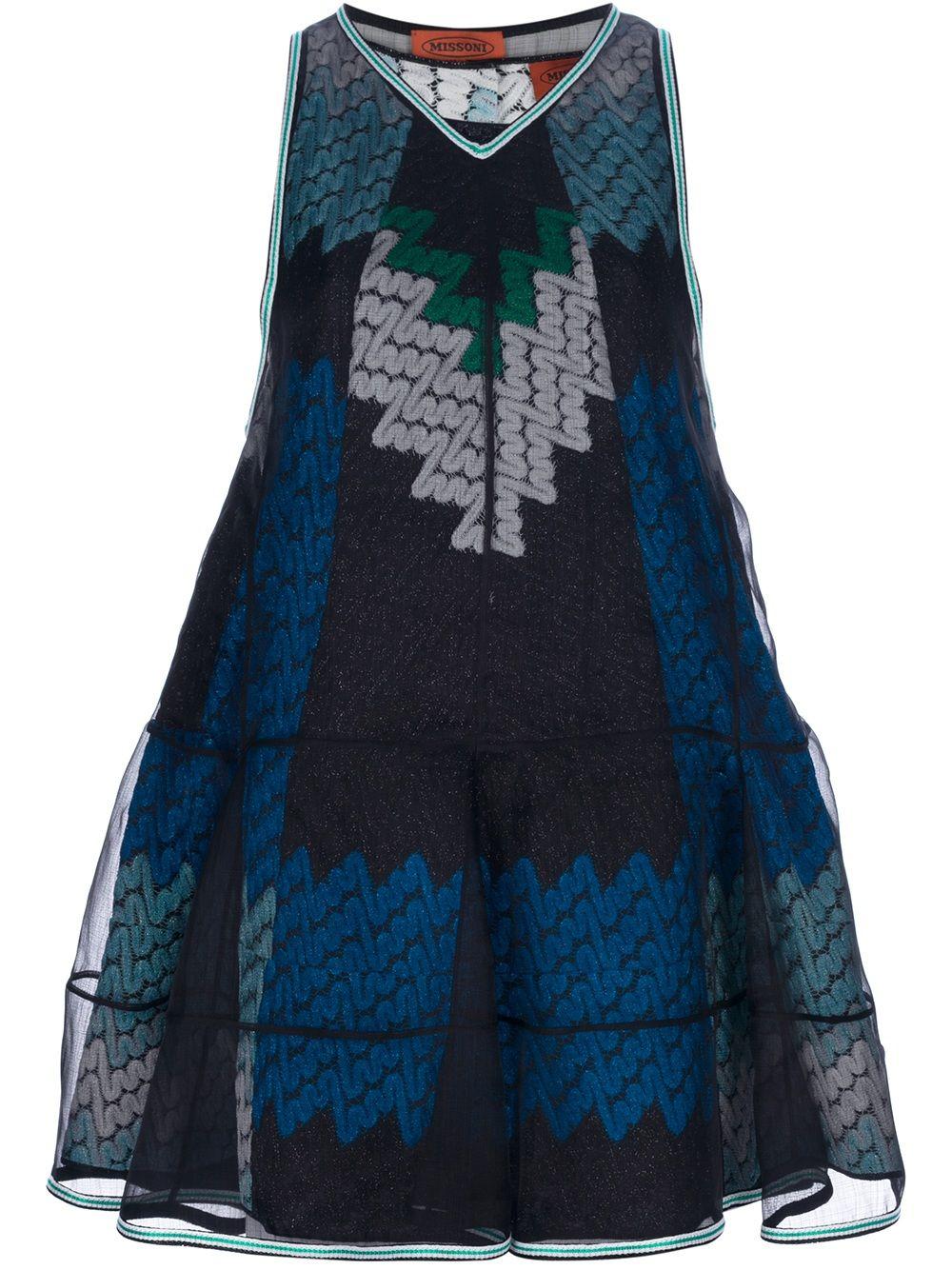 Missoni Layered Pattern Knit Dress in Black | Lyst