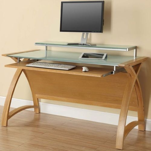 Jual Pc201 1300 Oak Computer Desk Ebay Large Oak Desk Oak Computer Desk Home Office Furniture Design