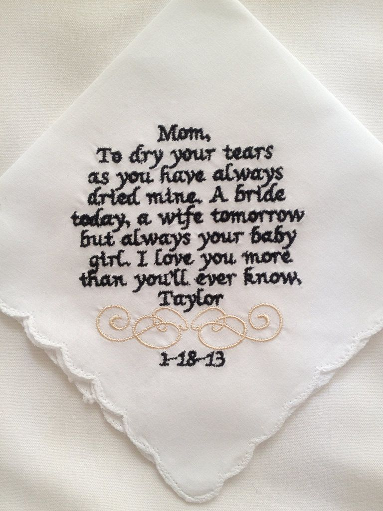 Personalized Wedding Handkerchief For Mom Or By Embroidermehankies 20 00