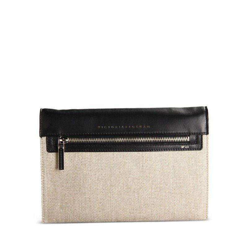 Victoria Beckham Leather & Canvas Clutch
