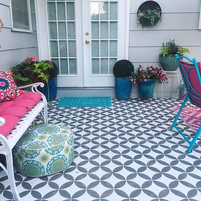 Patio Flooring On A Budget: DIY Painted And Stenciled Outdoor Floor Patio Makeover
