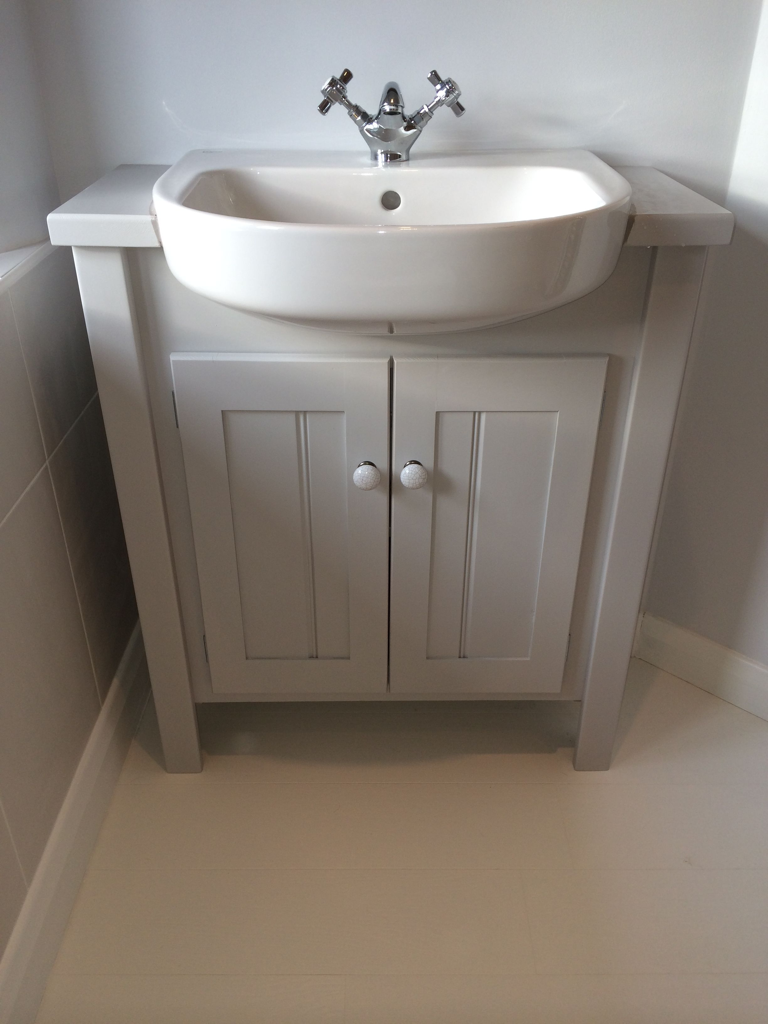 Pavilion grey vanity unit with built in sink this colour is from the farrow and ball range Design your own bathroom uk