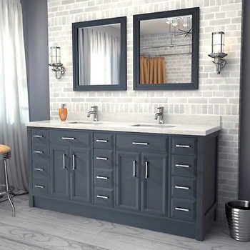 Costco Calais 75 Pepper Gray Double Sink Vanity By Studio Bathe
