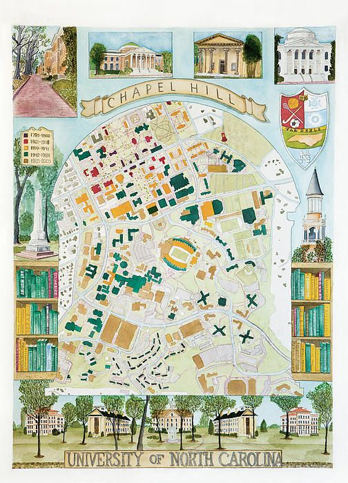 chapel hill campus map University Of North Carolina Campus Map Painting By Stephen chapel hill campus map