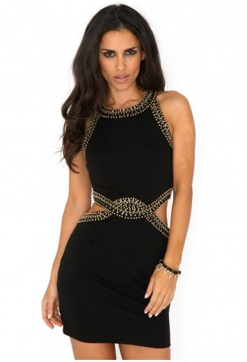 Kenedi Cut Out Embellished Trim Bodycon Dress- dresses- missguided
