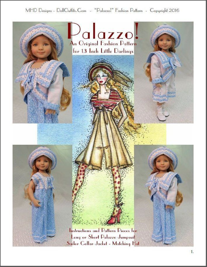 """""""Palazzo!"""" Original Fashion Pattern for Dianna Effner's 13"""" Little Darlings in…"""