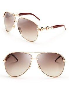 6efaf630c56 Gucci Chain Link Aviator Sunglasses