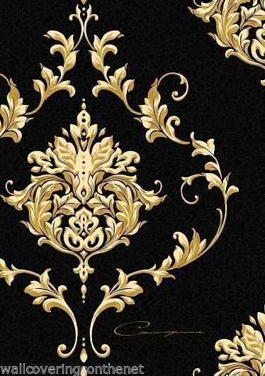 Designer Black Gold Damask With Calligraphy Heavyweight Blown