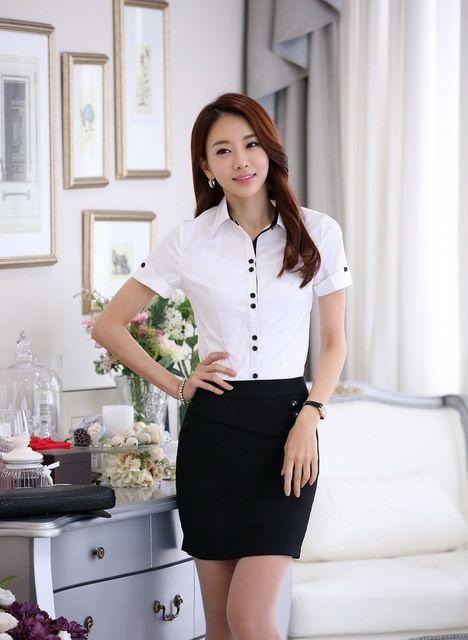 5fbccfbda Las Mujeres formales Trajes de Negocios con la Falda de Dos Piezas y  Conjuntos de Camisa Blusa Blanca Tops Moda de Verano Estilos Uniformes  Señoras de la ...
