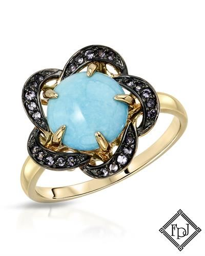 FAY PAY JEWELS. Ring with 2.57ctw Amethysts and Doublet Turquoise  14K Yellow Gold