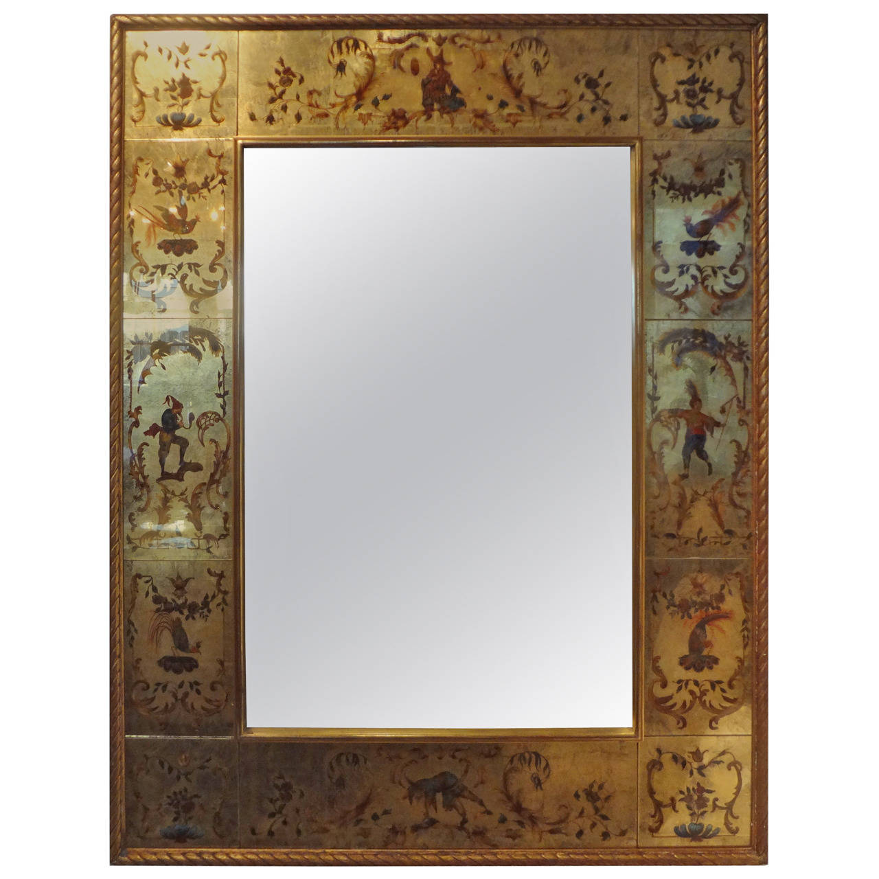 French Maison Jansen Style Verre Églomisé Mirror, 1940s | From a unique collection of antique and modern wall mirrors at https://www.1stdibs.com/furniture/mirrors/wall-mirrors/