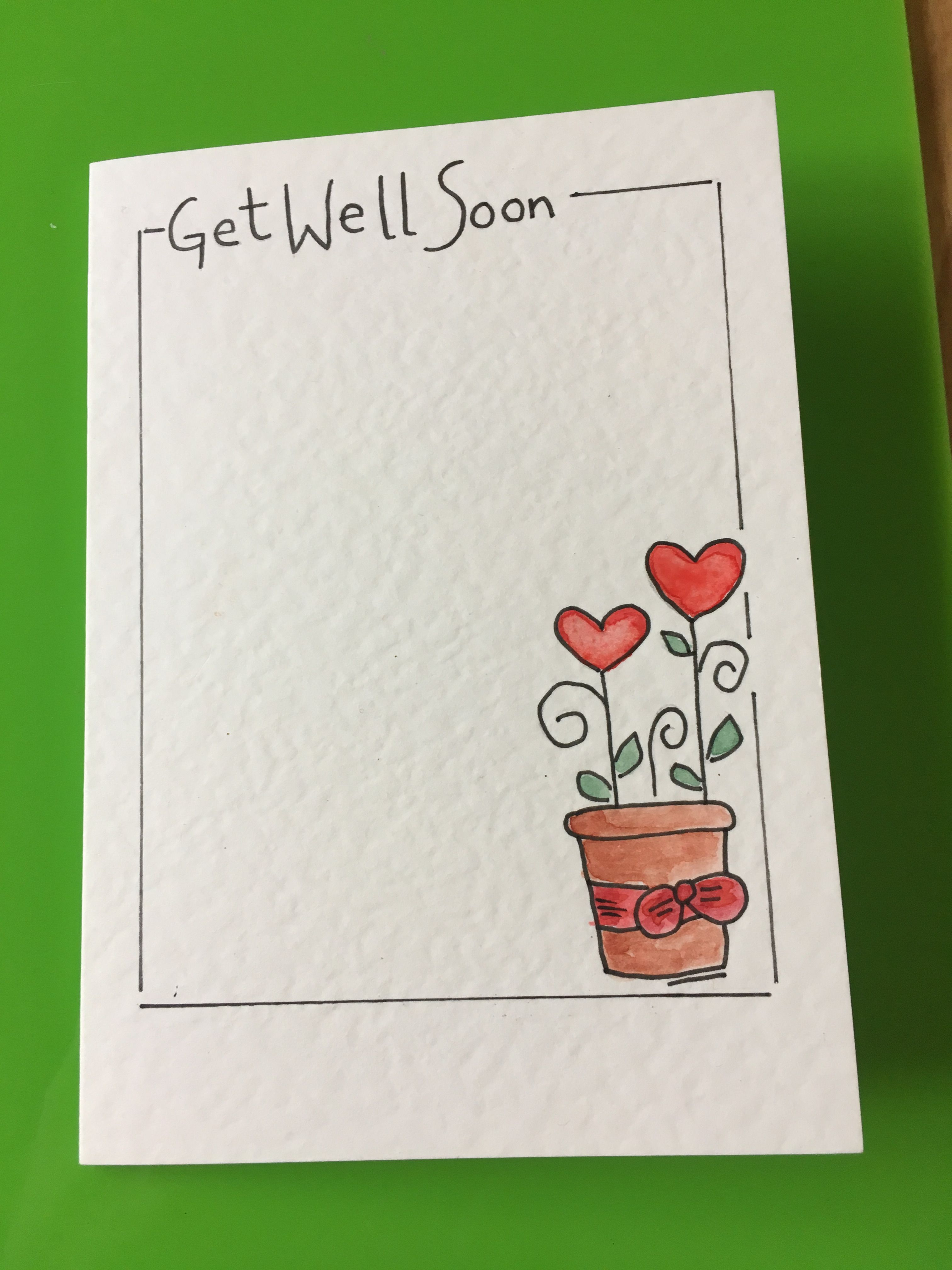 Watercolour Heart Flowers Cards Handmade