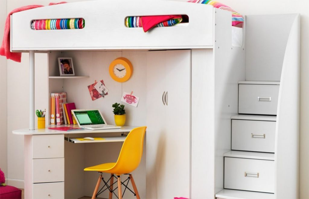 Bunk Bed Featured Stair And Study Table For Kids Furniture Bunk