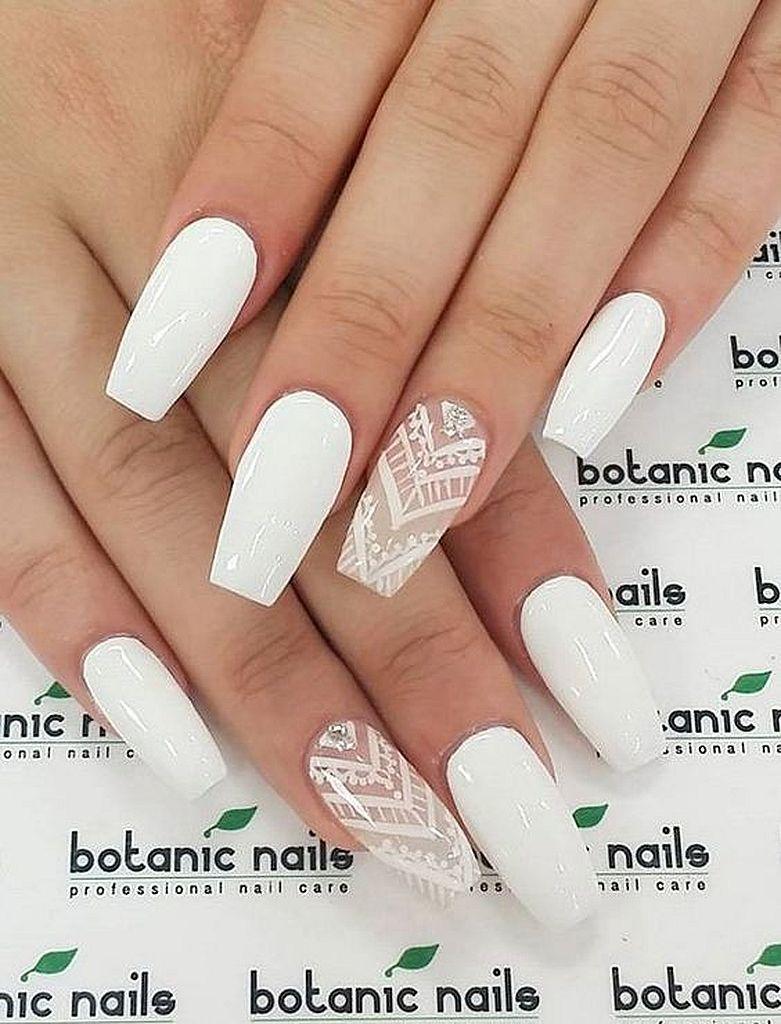 Cool 130 Cute Acrylic Nails Art Design Inspirations Botanic Nails Nails White Nails