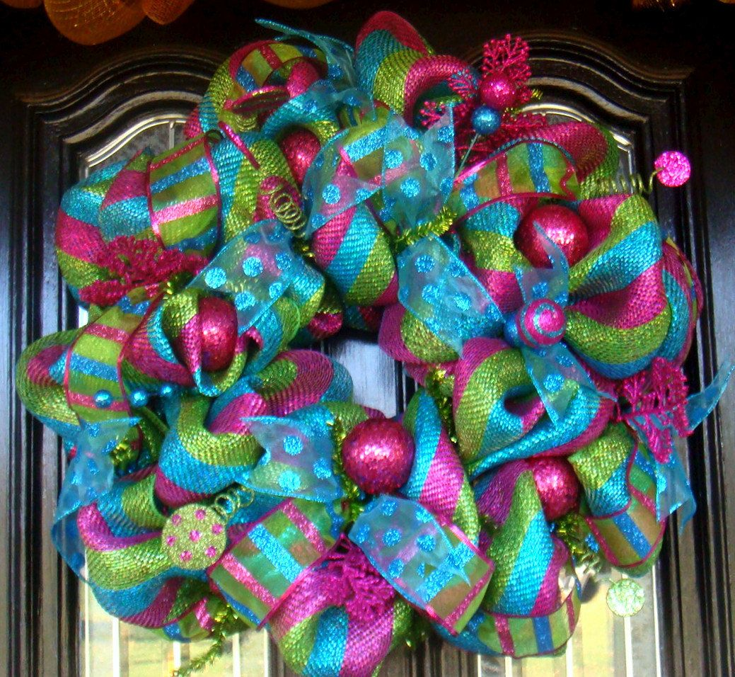 with discount code whimsy christmas deco mesh door wreath. Black Bedroom Furniture Sets. Home Design Ideas