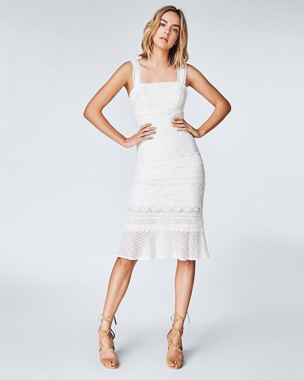 Lace combo trumpet dress nicole miller pretty white stuff in