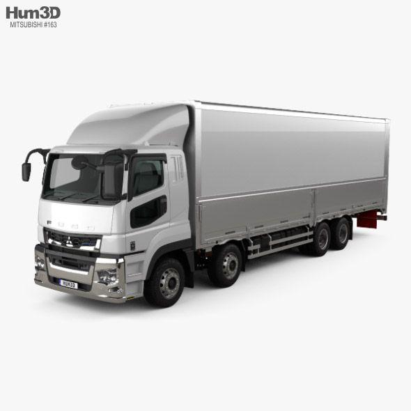Mitsubishi Fuso Super Great Box Truck 4-axle 2019. Fully customizable 3D model of a truck. #3D #3DModel #3DDesign #truck #VR #AR #2019-2022 #4-axle #box #cargo #fuso #great #heavy #industrial #japan #japanese #mitsubishi #super #trucks