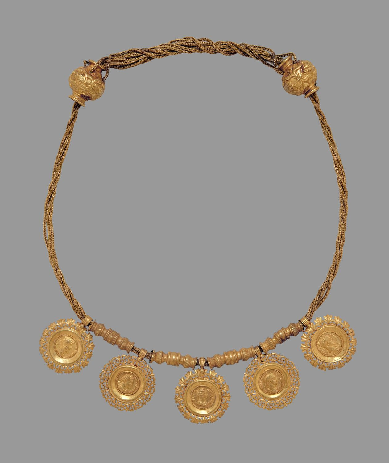 Collar with medallions containing coins of emperors