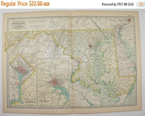 Vintage Map Of Maryland Delaware Map DC Map East Coast - East coast state map
