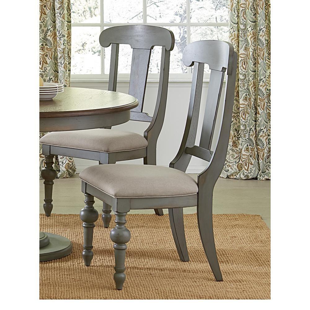 Progressive Furniture Colonnades Putty And Oak Upholstered Slat