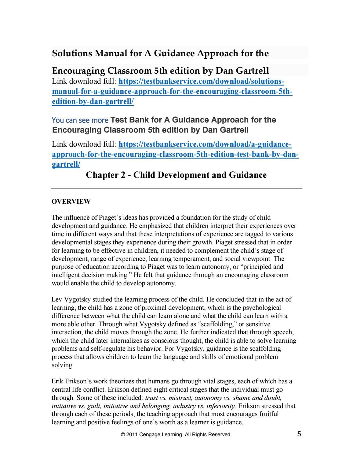Solutions Manual for a Guidance Approach for the Encouraging Classroom 5th  Edition by Dan Gartrell
