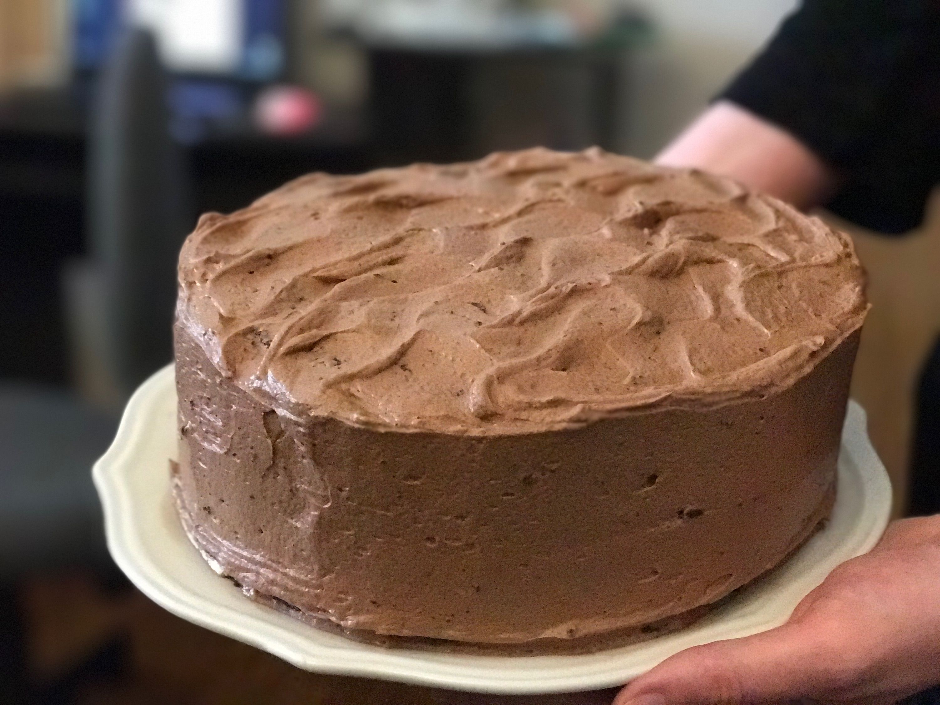 [homemade] Chocolate cake with chocolate frosting and a