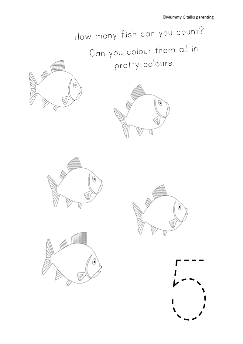 FREEBIE Under the sea themed counting fish worksheet