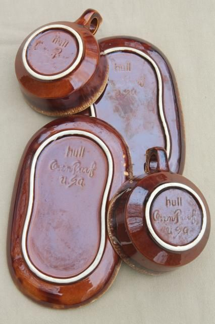 Hull brown drip glaze pottery soup mugs u0026 snack tray plates soup u0026 sandwich sets : soup mug and sandwich plate set - Pezcame.Com