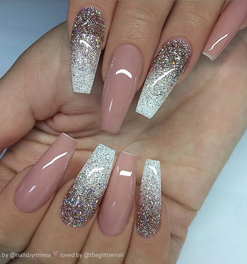 50 Pretty French Pink Ombre And Glitter On Long Acrylic Coffin Nails Design Page 7 Of 53 Latest Fashion Trends For Woman Mauve Nails Coffin Nails Long Pretty Nails Glitter